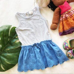 Zara Girls Blue Pointelle Detail Dress Size 2/3